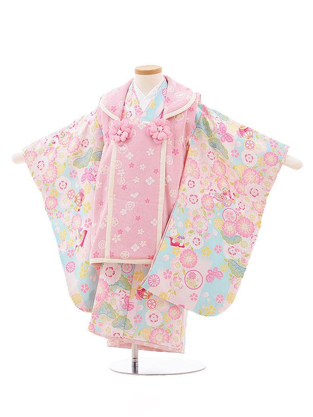 七五三レンタル(3歳女被布)F193 ポンポネット ピンク×水色 桜