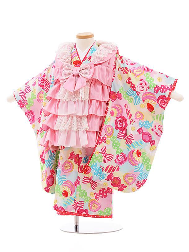 七五三(3歳女被布)F194 SEIKO ピンクフリル×イエローキャンディ