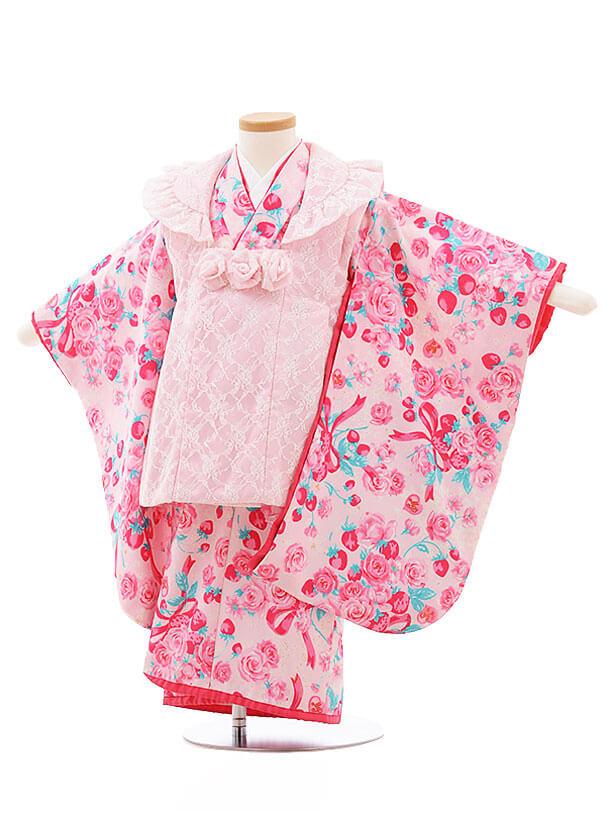 七五三(3歳女被布)F195 メゾピアノ ピンクレース×ピンクバラ