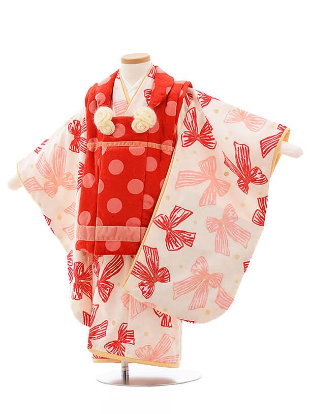 七五三レンタル(3歳女被布)F197 hakkakids 赤水玉×クリームりぼん