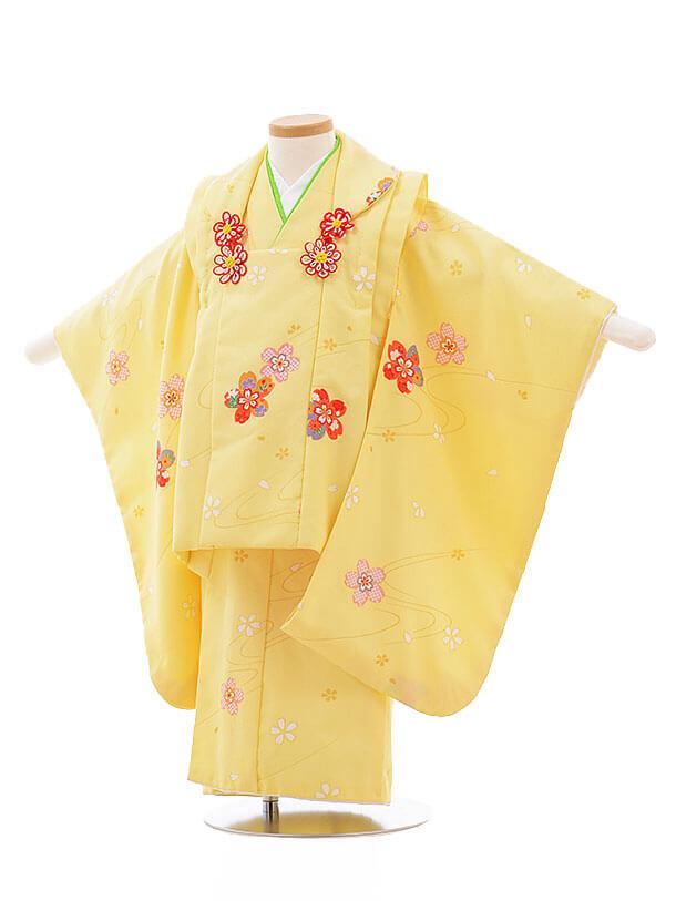 七五三レンタル(3歳女被布)F199 うす黄色 桜