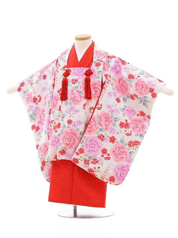 七五三レンタル(3歳女被布)F201 袖付き被布 白×赤 バラ