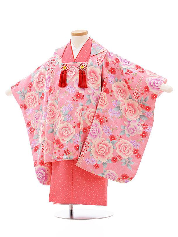 七五三レンタル(3歳女被布)F202 袖付き被布 ピンク バラ