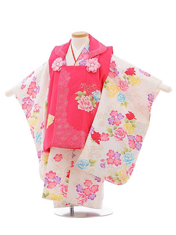 七五三レンタル(3歳女被布)F203 ピンク×白 バラ