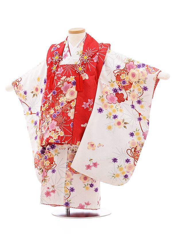七五三レンタル(3歳女被布)F204 赤×白 鈴桜