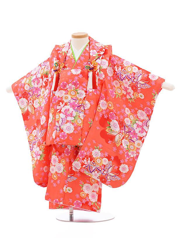 七五三レンタル(3歳女被布)F206 オレンジ 花 まり