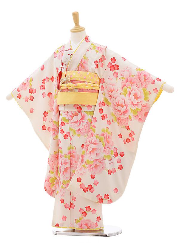 七五三レンタル(7歳女結び帯)F215 ポンポネット クリーム色 牡丹