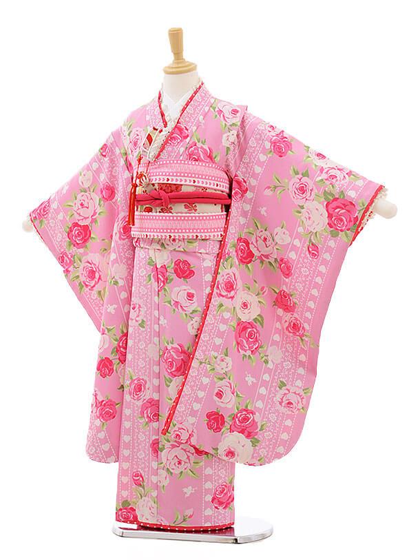 七五三レンタル(7歳女結び帯)F217 SEIKO ピンク バラ