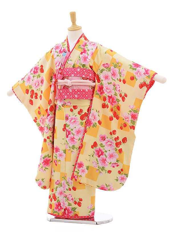 七五三レンタル(7歳女結び帯)F220 SEIKO 黄色 苺