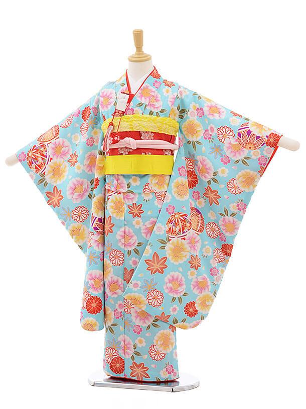 七五三レンタル(7歳女結び帯)F222 水色 まり 桜