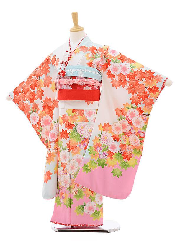 七五三レンタル(7歳女結び帯)F223 水色 ぼかし もみじ 桜