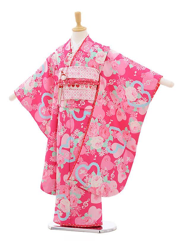 七五三レンタル(7歳女結び帯)F224 SEIKO ピンク ハート バラ