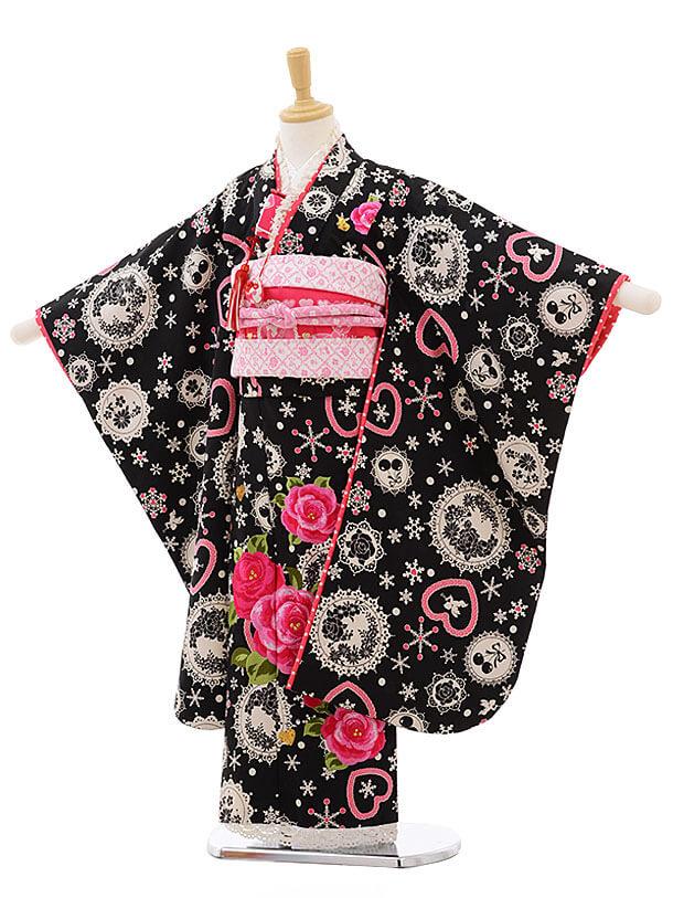 七五三レンタル(7歳女結び帯)F226 SEIKO 黒レース バラ