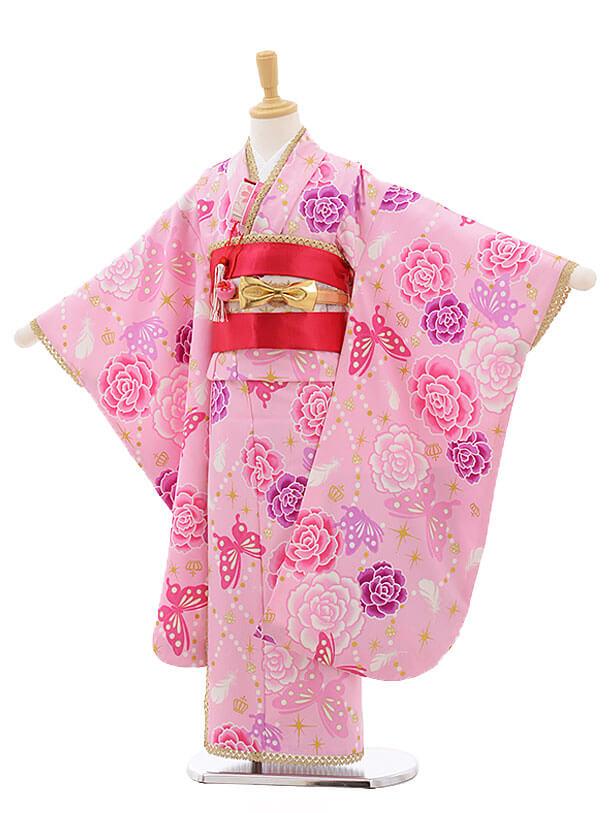 七五三レンタル(7歳女結び帯)F227 JAPAN STYLE ピンク 蝶