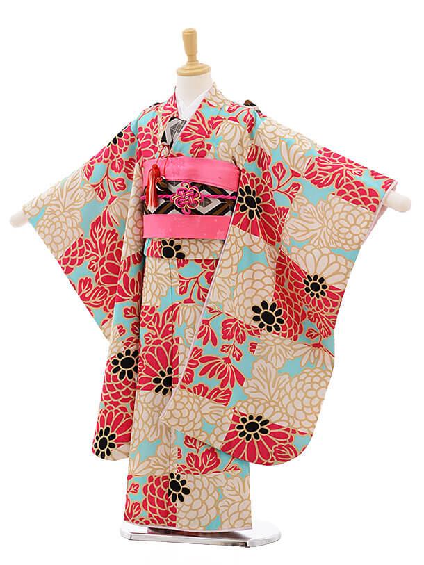 七五三レンタル(7歳女結び帯)F228 水色地 チェリーピンク 花