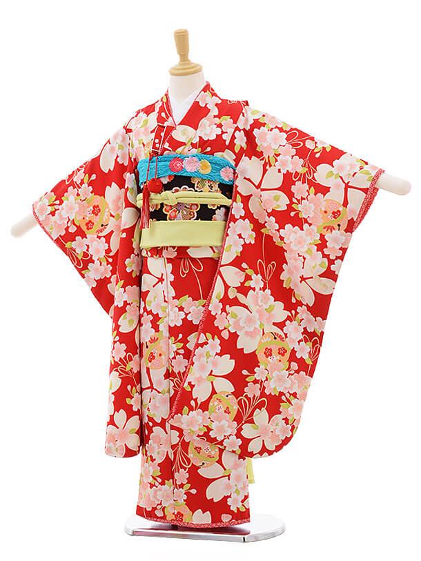 七五三レンタル(7歳女の子結び帯)F230 乙葉 赤地 桜 鈴