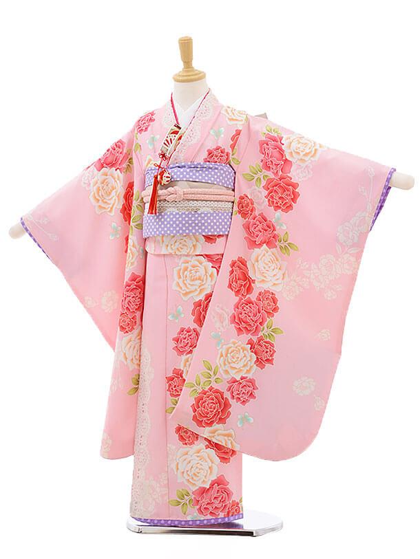 七五三レンタル(7歳女結び帯)F231 ピンク地 レース バラ