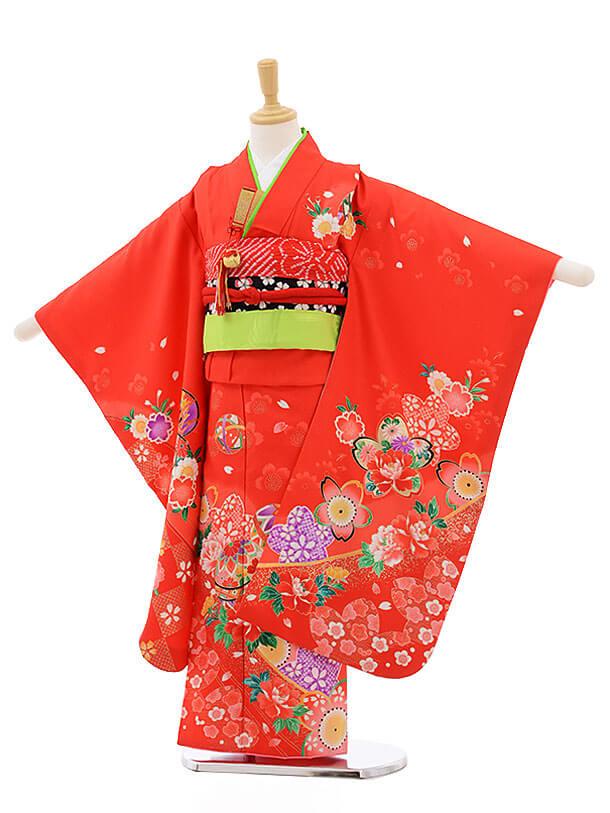 七五三レンタル(7歳女結び帯)F232 赤地 桜 牡丹 まり
