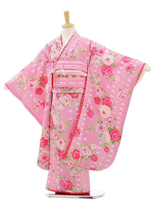 七五三レンタル(7歳女結び帯)F233 SEIKO ピンクレース バラ