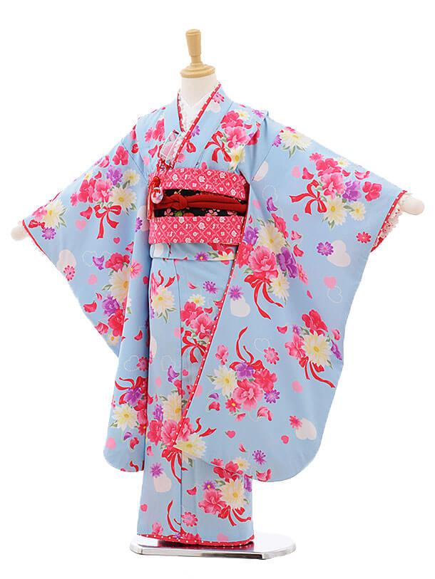 七五三レンタル(7歳女結び帯)F236 SEIKO 水色 ブーケ