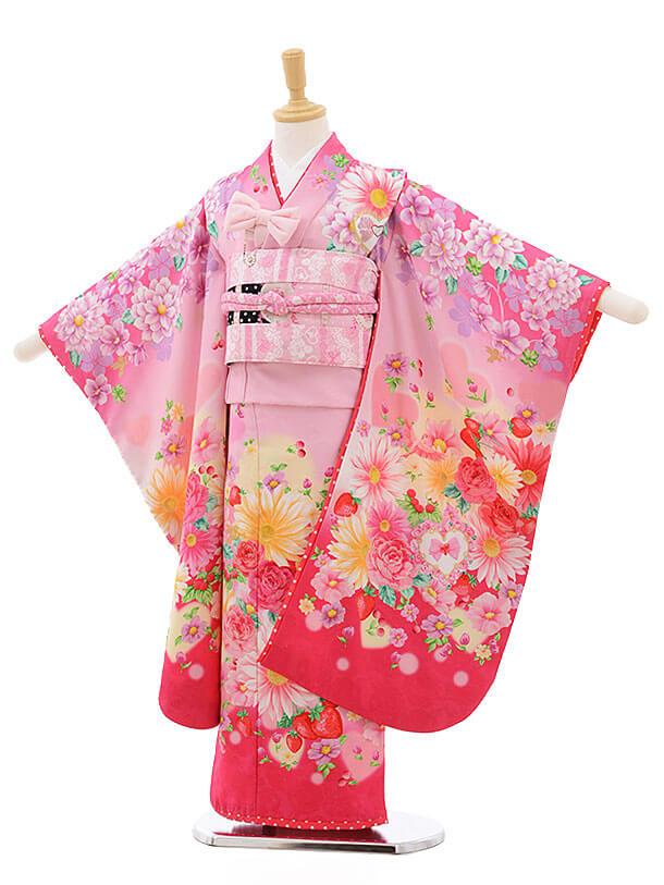 七五三レンタル(7歳女結び帯)F237 SEIKO ピンク 花 いちご