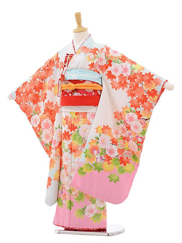 七五三レンタル(7歳女結び帯)F239 水色 ぼかし もみじ 桜