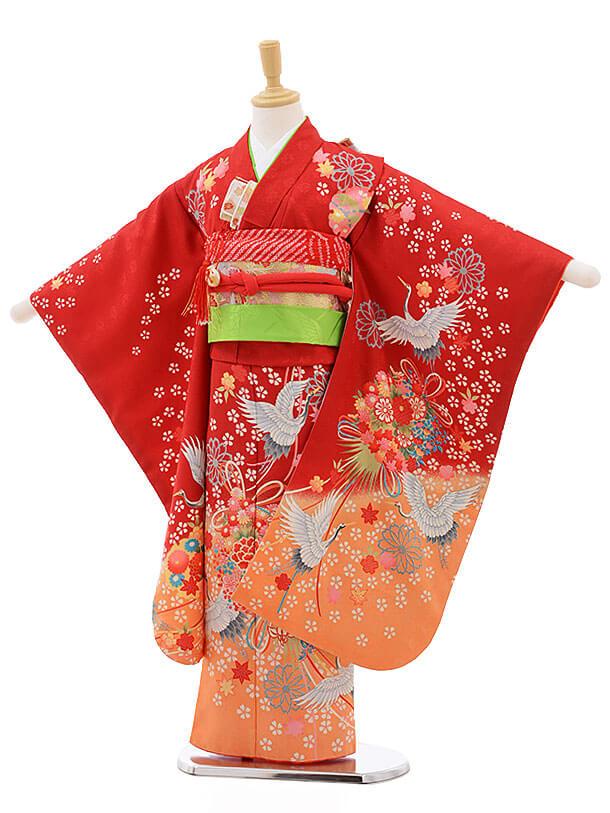 七五三レンタル(7歳女結び帯)F240 赤地 薬玉に鶴