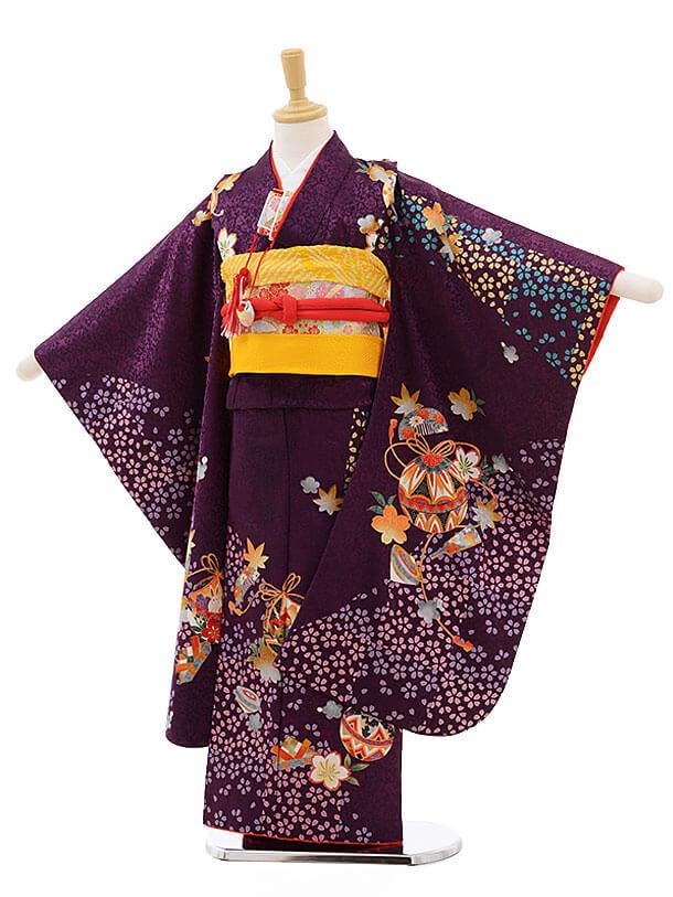 七五三レンタル(7歳女結び帯)F241 紫地 桜ちらし 鈴