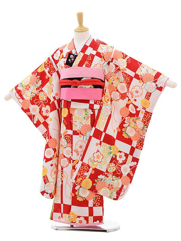 七五三レンタル(7歳女結び帯)F242 白赤 梅桜
