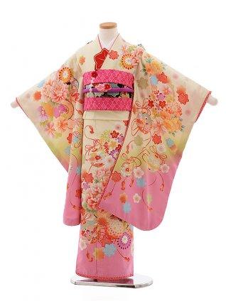七五三(7歳女児結び帯) F360 乙葉 クリーム地 裾ピンク ぼたん まり