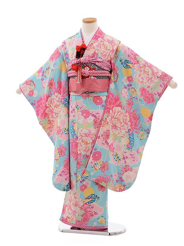 七五三レンタル(7歳女児結び帯) F361 JAPAN STYLE 水色 ぼたん