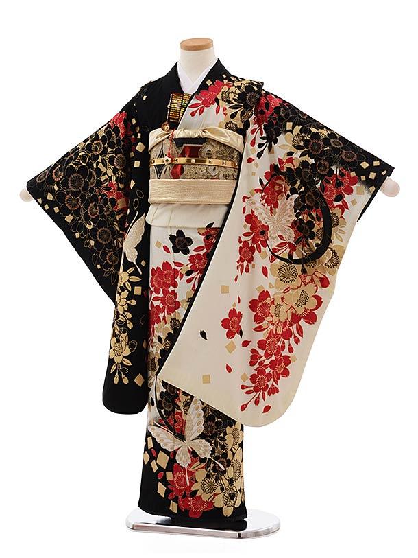 七五三レンタル(7歳女児結び帯) F364 ブルークロス 黒白 桜蝶