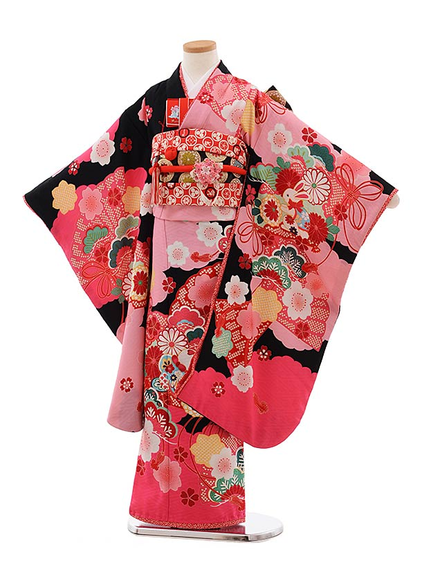 七五三(7歳女児結び帯) F366 JAPAN STYLE×あしだまな 黒