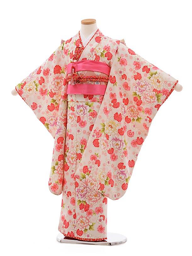 七五三レンタル(7歳女児結び帯) F367 花夢二 白地 ぼたん 桜