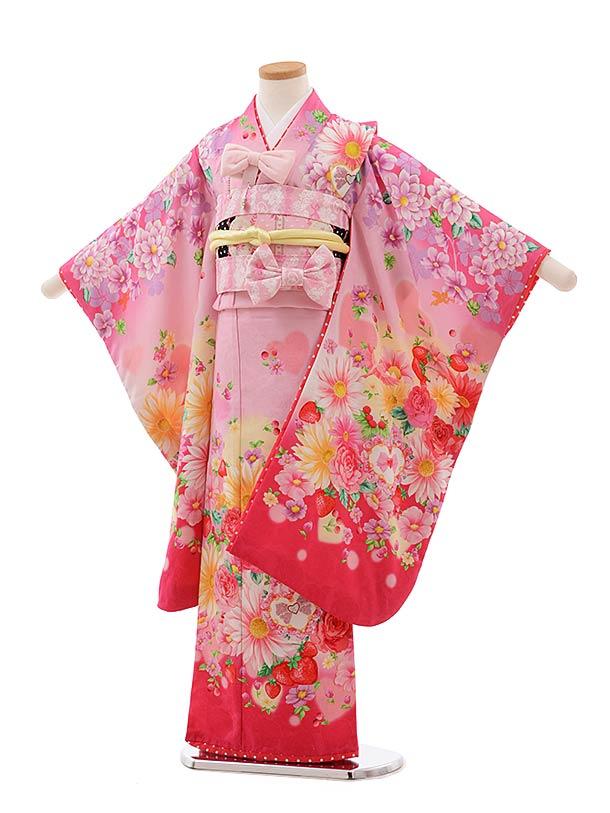 七五三(7歳女児結び帯) F369 seiko ピンク ぼかし ハートに花
