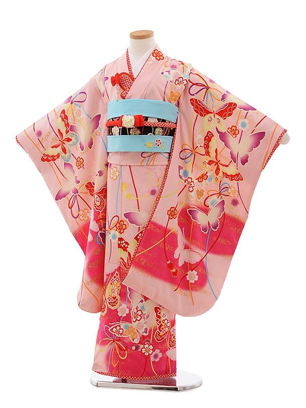 七五三レンタル(7歳女児結び帯) F371 乙葉 ピンク 蝶々
