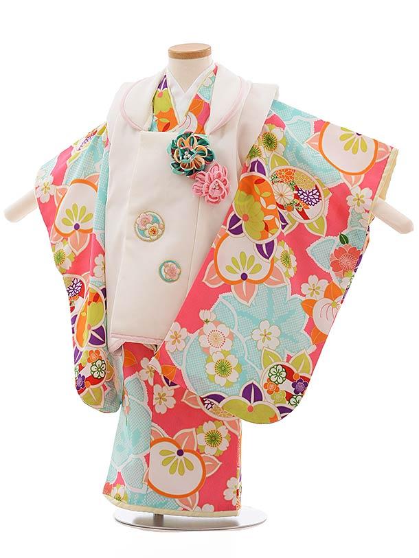 七五三(3歳女被布)F376 白×ピンク 桜 橘