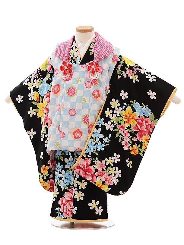 七五三(3歳女児被布)F382 水色 市松×黒地 花