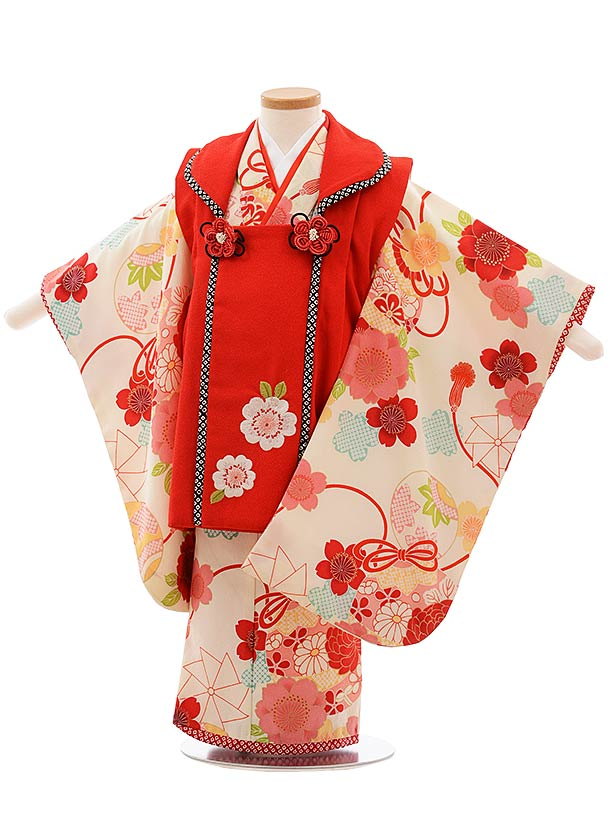 七五三(3歳女児被布)F385 赤×クリーム地 桜 鈴