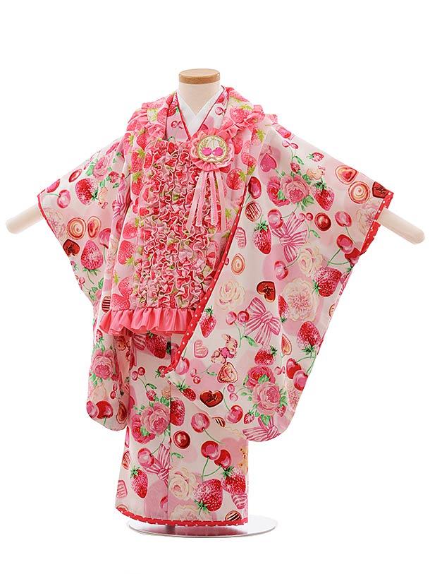 七五三(3歳女児被布)F386 seiko ピンク いちご
