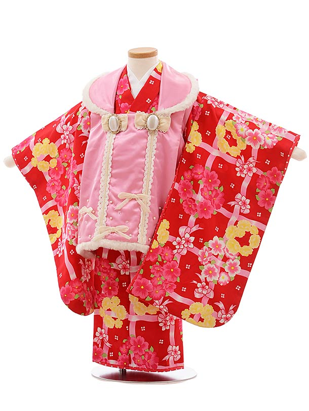 七五三(3歳女児被布)F387 seiko ピンク×赤地 花