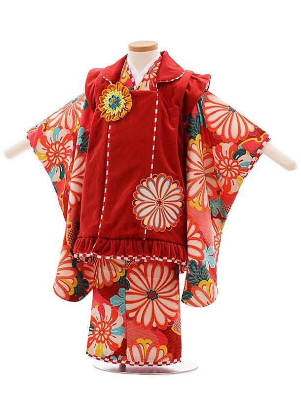 七五三(3歳女被布)F391 JAPAN STYLE 赤ベルベッド 菊