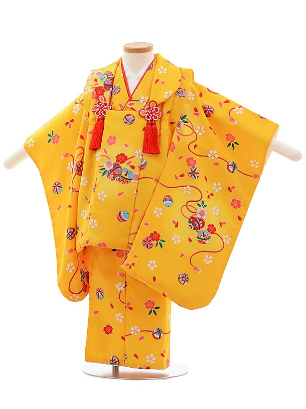 七五三(3歳女児被布)F394 黄色地 桜鈴