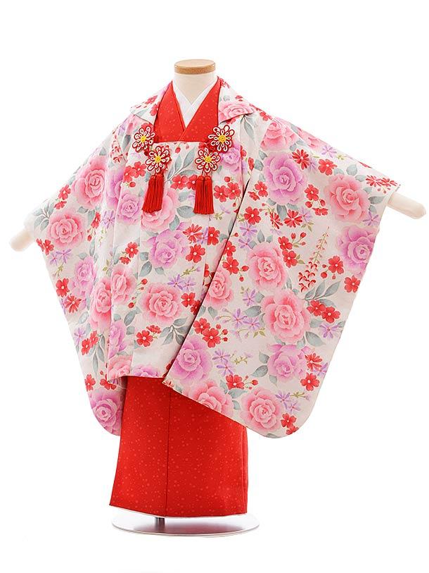 七五三(3歳女児被布)F399 袖付き被布 白地バラ×赤