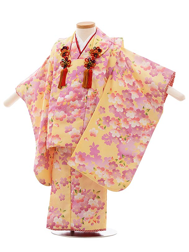 七五三(3歳女被布)F400 うす黄色 桜