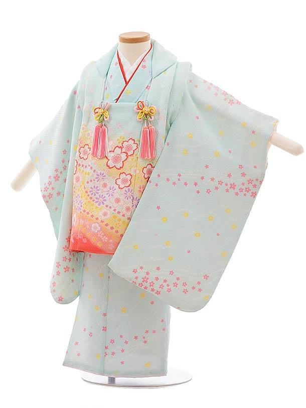 七五三(3歳女被布)F401 水色 桜流し