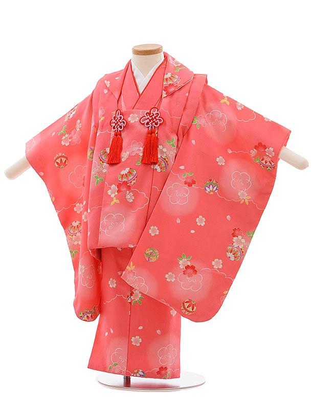 七五三(3歳女児被布)F403 ピンク地 桜にまり