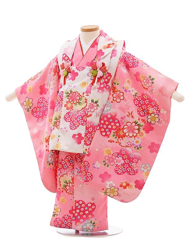 七五三(3歳女被布)F407 白桜×ピンク桜