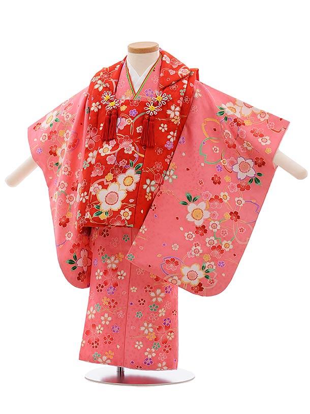 七五三(3歳女児被布)F408 赤桜×ピンク桜