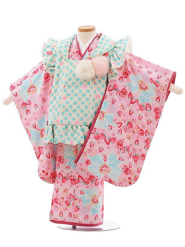 七五三(3歳女児被布)F411 メゾピアノ 水色 水玉 ピンク いちご